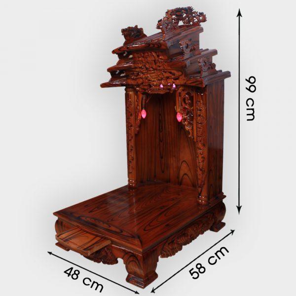 Bàn thần tài mái dốc gỗ thông 48cm đẹp giá rẻ ở Hà Nội