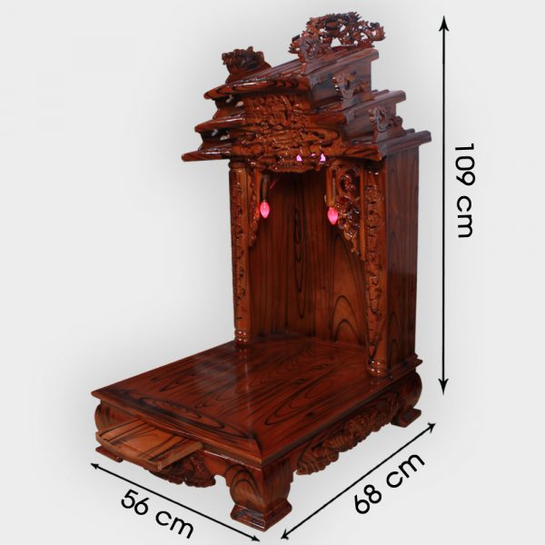 Bàn thần tài mái dốc gỗ thông 56cm đẹp giá rẻ ở Hà Nội