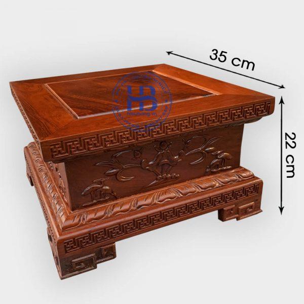 Đế vuông gỗ Hương chiện Sen 35x22cm đẹp giá tốt tại Hà Nội