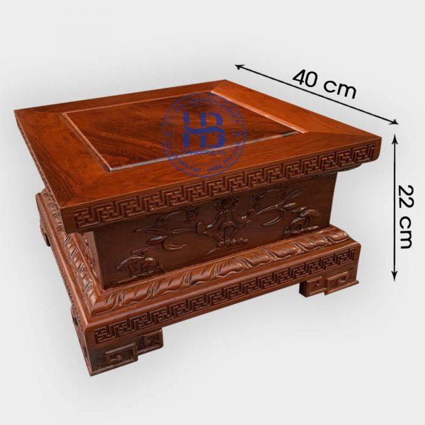Đế vuông gỗ Hương chiện Sen 40x22cm đẹp giá tốt tại Hà Nội
