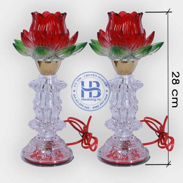 Đèn thờ thủy tinh 2 lá Đỏ đẹp giá rẻ ở Hà Nội