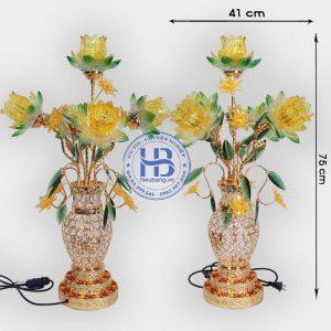 Bình hoa sen 5 bông 2 lá 75cm màu Vàng