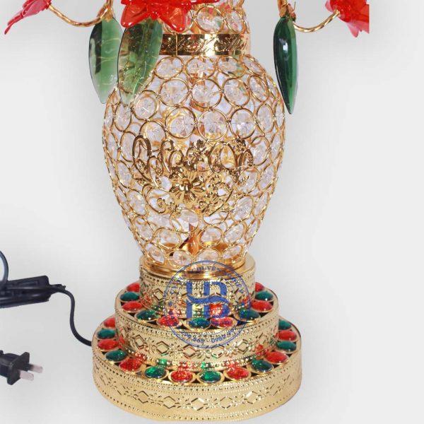Bình hoa sen 5 bông 2 lá 75cm màu Đỏ