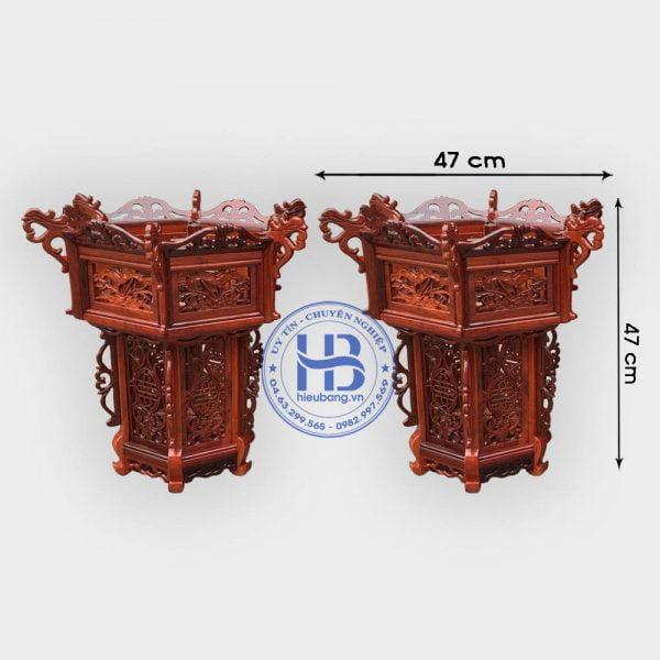 Cặp đèn lồng khung treo gỗ Hương 47cm 3 tầng đục hoa lá tây