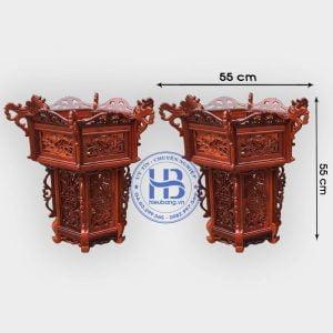 Cặp đèn lồng khung treo gỗ Hương 55cm 3 tầng đục hoa lá tây