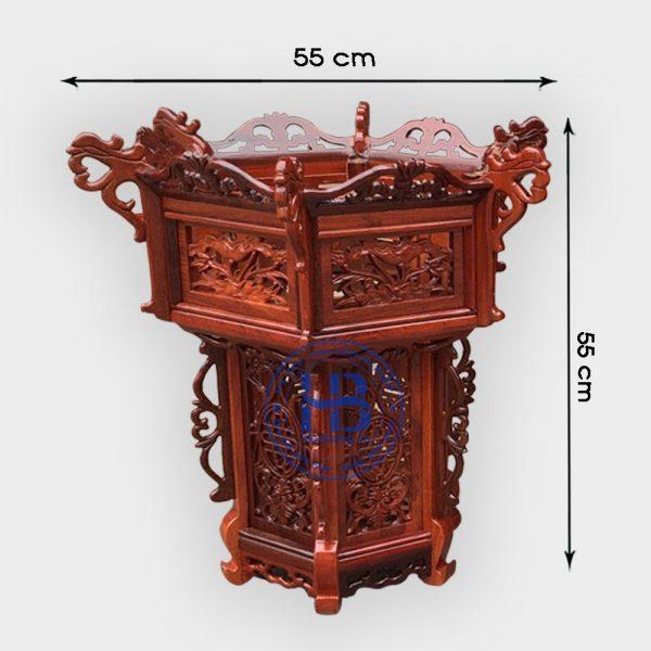 Đèn lồng khung treo gỗ Hương 55cm 3 tầng đục hoa lá tây