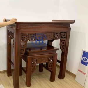 Bàn thờ chân gỗ ke đục sen 127cm đẹp giá rẻ ở Hà Nội