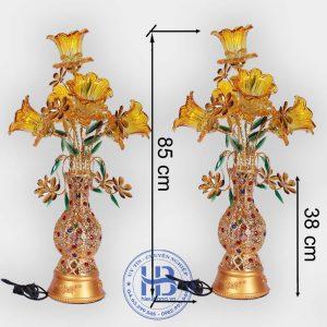 Bình hoa sen 5 bông màu vàng 75cm