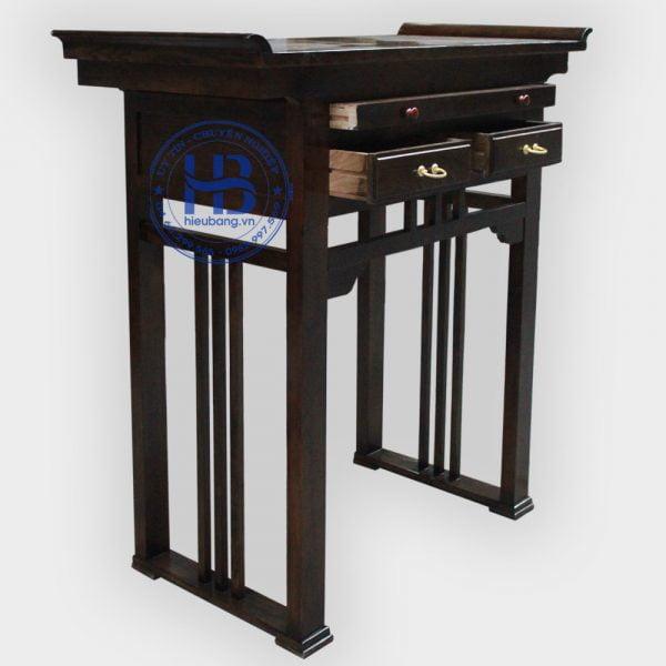 Bàn thờ chung cư gỗ sồi màu óc chó đơn 127cm