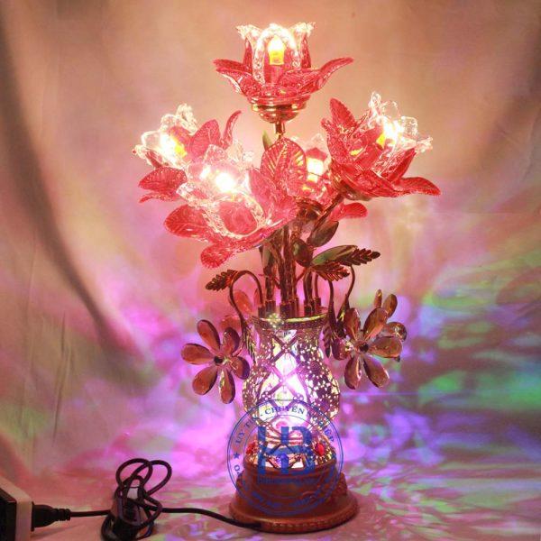 Bình hoa sen 5 bông đỏ 56cm