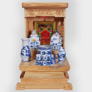 Bộ bàn thờ thần tài hiện đại gỗ thông mỹ 36cm