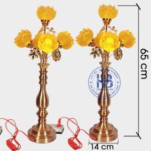 Đèn Sen Lưu Luy 5 bông thân đồng cao cấp đẹp tại Hà Nội