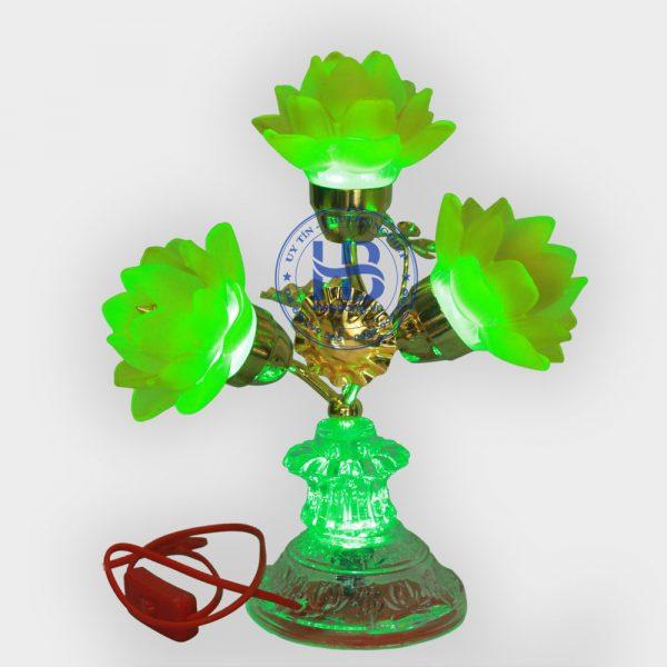 Đèn Sen Lưu Ly 5 bông thủy tinh