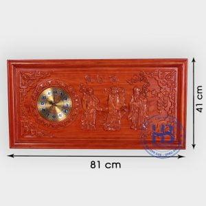 Tranh gỗ đồng hồ Phúc Lộc Thọ 41x81cm PU