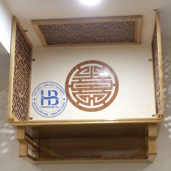 Vách ngăn bàn thờ treo tường gỗ sồi
