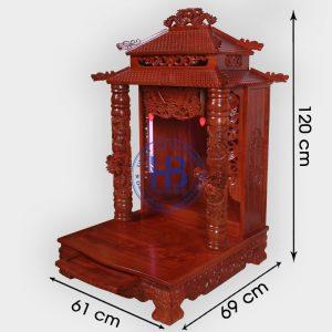 Bàn thờ thần tài gỗ Hương 8 mái 61cm cao cấp đẹp giá tốt ở Hà Nội