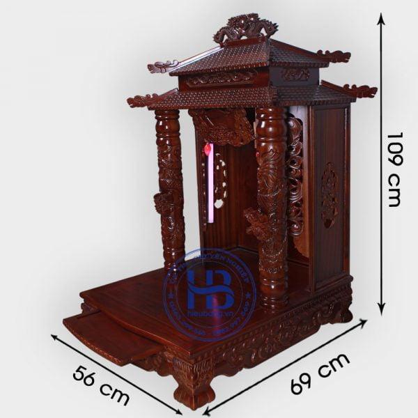 Bàn thờ thần tài gỗ Gụ 8 mái 56cm đẹp giá rẻ tại Hà Nội