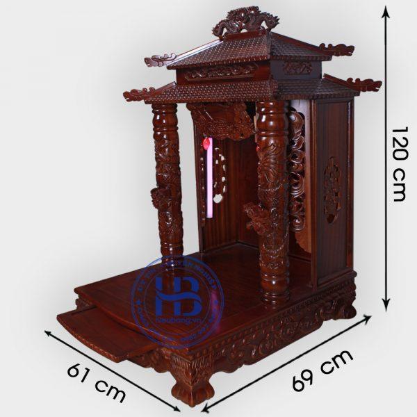 Bàn thờ thần tài gỗ Gụ 8 mái 61cm đẹp giá rẻ tại Hà Nội