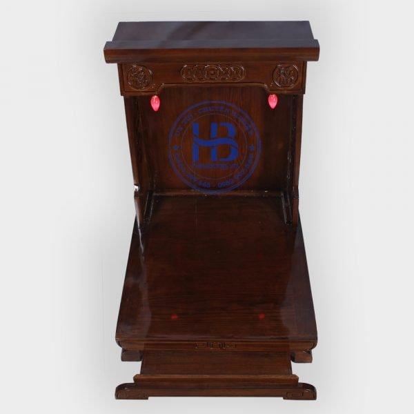 Bàn thờ thần tài gỗ sồi hiện đại màu óc chó đẹp giá rẻ ở Hà Nội