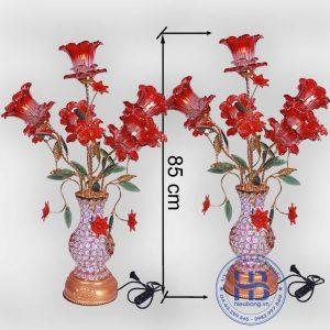 Bình hoa thủy tinh 5 bông đỏ 85cm đẹp giá rẻ ở Hà Nội