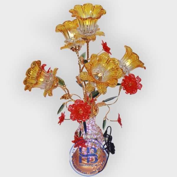 Bình hoa thủy tinh 5 bông vàng 85cm đẹp giá rẻ ở Hà Nội