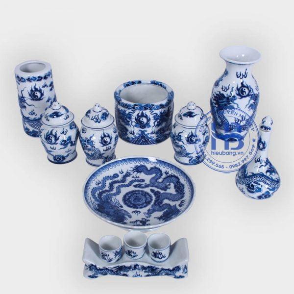 Bộ đồ thờ bát tràng xanh nổi cao cấp tại Hà Nội