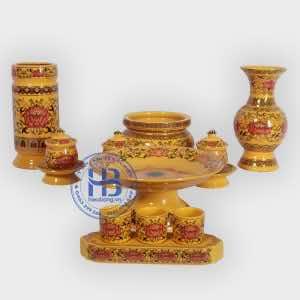 Bộ đồ thờ gấm màu vàng đẹp cao cấp Tại Hà Nội