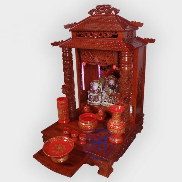 Bộ bàn thờ thần tài gỗ Hương 56cm gấm Đỏ cao cấp đẹp giá rẻ tại Hà Nội