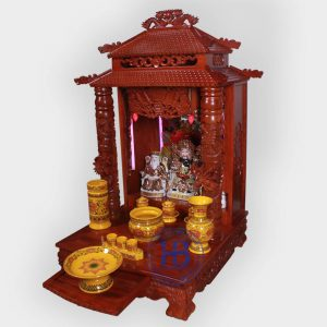 Bộ bàn thờ thần tài gỗ Hương 56cm gấm Vàng cao cấp đẹp giá rẻ tại Hà Nội