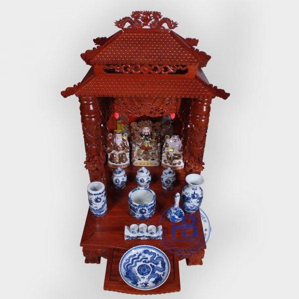 Bộ bàn thờ thần tài gỗ Hương 56cm men Xanh Nổi cấp đẹp giá rẻ ở Hà Nội