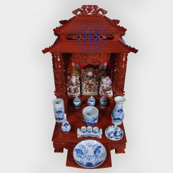 Bộ bàn thờ thần tài gỗ Hương 56cm men Xanh Ngọc cao cấp đẹp giá rẻ ở Hà Nội