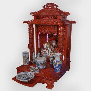 Bộ bàn thờ thần tài gỗ Hương 56cm men rạn cao cấp đẹp giá rẻ ở Hà Nội