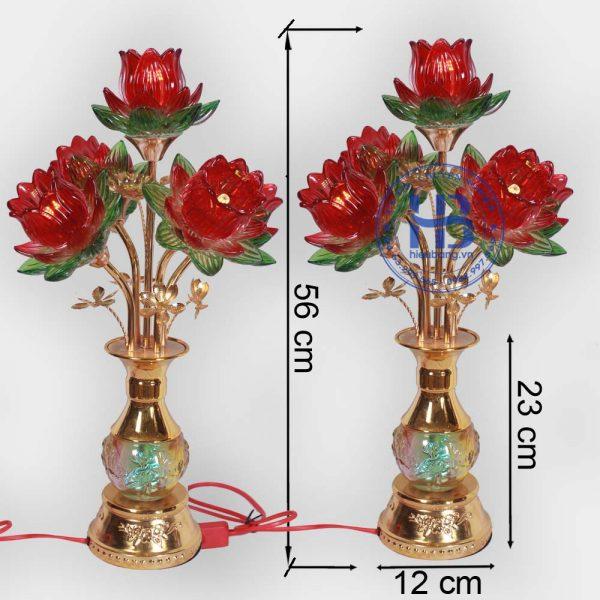 Đèn bình hoa sen 5 bông Đỏ 56cm cao cấp đẹp giá rẻ tại Hà Nội
