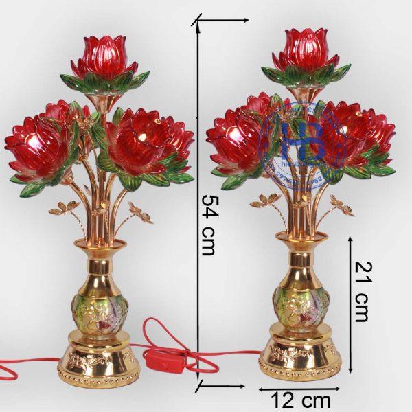 Đèn thờ bình hoa sen 5 bông Đỏ 54cm cao cấp đẹp giá rẻ tại Hà Nội
