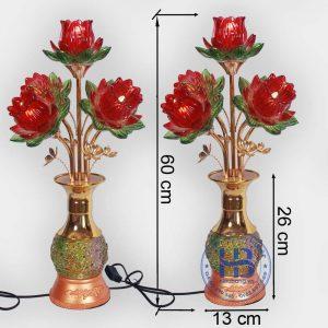 Đèn bình hoa sen 5 bông Đỏ 60cm cao cấp đẹp giá rẻ tại Hà Nội