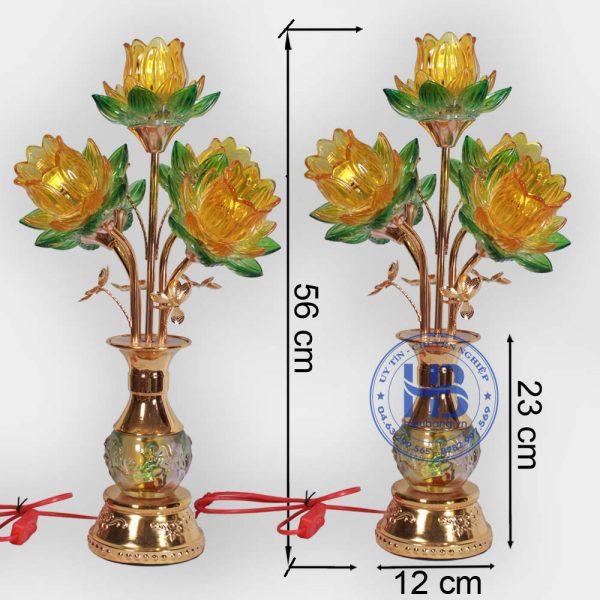 Đèn bình hoa sen 5 bông Vàng 56cm cao cấp đẹp giá rẻ tại Hà Nội