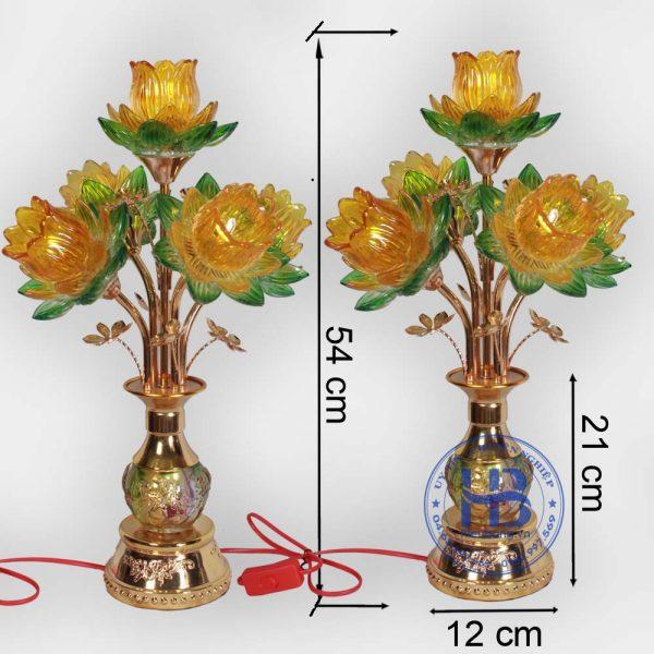 Đèn bình hoa sen 5 bông vàng 54cm cao cấp đẹp giá rẻ tại Hà Nội