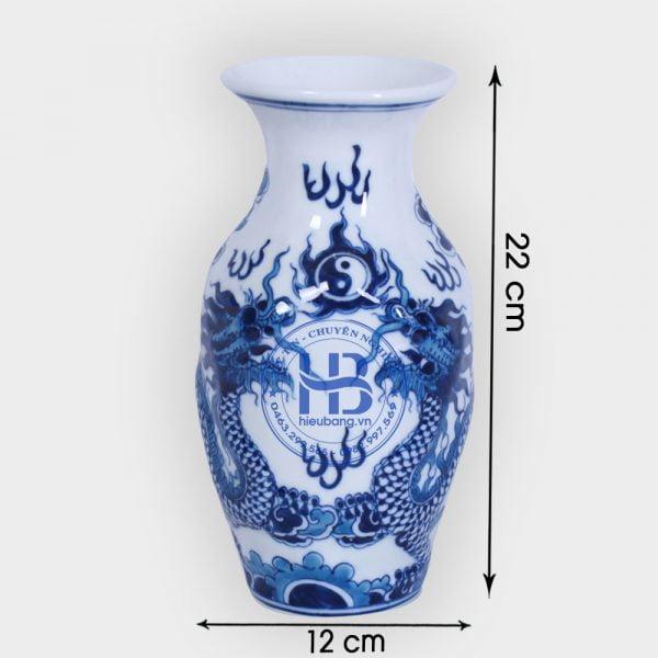 Lọ hoa bát tràng xanh nổi 22cm cao cấp đẹp giá rẻ tại Hà Nội