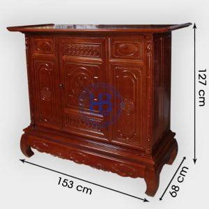 Tủ thờ chung cư gỗ sồi 153cm đẹp giá rẻ tại Hà Nội