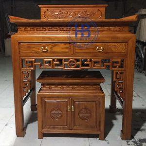 Bàn thờ bằng gỗ Sồi HB-T04 đẹp giá Gốc tại Hà Nội