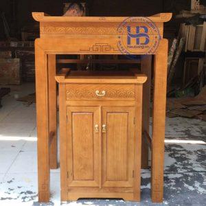 Bàn thờ bằng gỗ Sồi 89x61cm đẹp giá rẻ tại Hà Nội