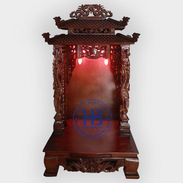 Bàn thần tài mái chùa cột Hạc 48cm màu Gụ đẹp giá rẻ Hà Nội