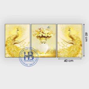 Bộ 3 tranh treo tường chim công 40x60cm đẹp giá rẻ ở Hà Nội