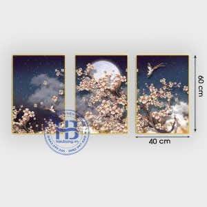 Bộ 3 tranh treo tường hoa anh đào 40x60cm đẹp giá rẻ ở Hà Nội