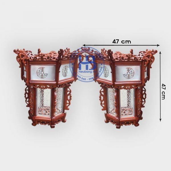 Đèn lồng khung treo gỗ hương 55cm Kính đẹp giá rẻ ở Hà Nội | Đèn lồng