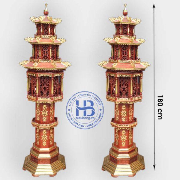 Đèn tháp 3 tầng gỗ Hương Cao Cấp Đẹp Tại Hà Nội
