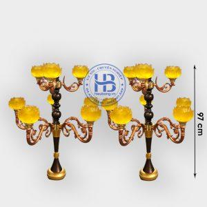 Đèn Lưu Ly Cúng Phật Thân Cổ 9 Bông Cao Cấp Đẹp Tại Hà Nội