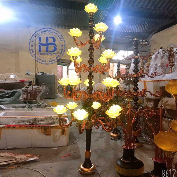 Đèn Lưu Ly Cúng Phật Hoa Sen Thân Cổ 19 Bông Cao Cấp Đẹp Tại Hà Nội