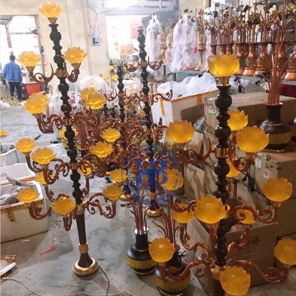 Đèn Lưu Ly Cúng Phật Thân Cổ Cao Cấp Đẹp Tại Hà Nội