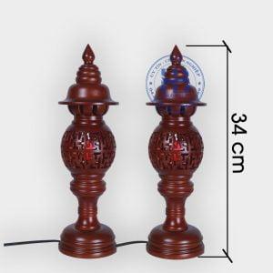 Đèn thờ gỗ Sà Cừ chữ Vạn 34cm Giá Rẻ Tại Hà Nội | Với Nhiều Mẫu Đèn Thờ Đẹp